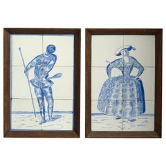Pair of Early Twentieth Century Blue and White Glazed Delft PotteryTile Pictures
