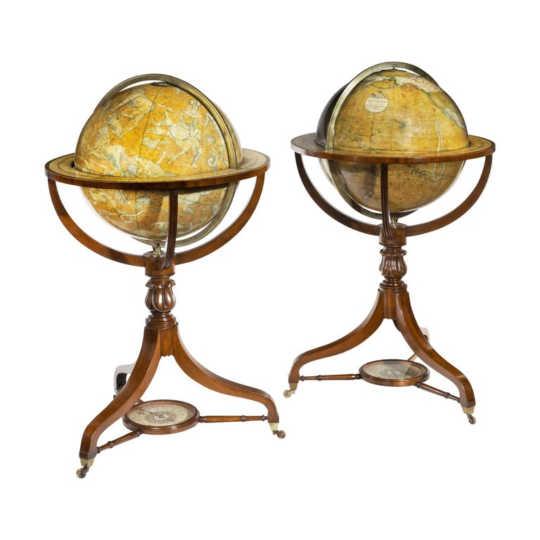 Pair of Early Victorian Globes by Smith & Son For Sale