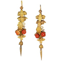 Pair of Early Victorian Gold and Coral Leaf Drop Earrings