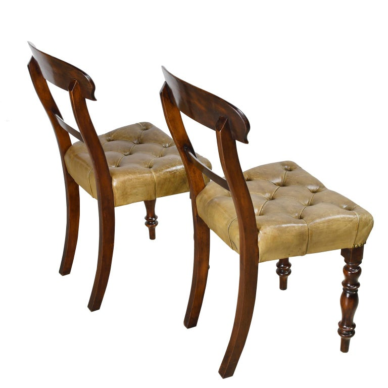 Pair of Early Victorian Mahogany Chairs with Leather Upholstery, England For Sale 4