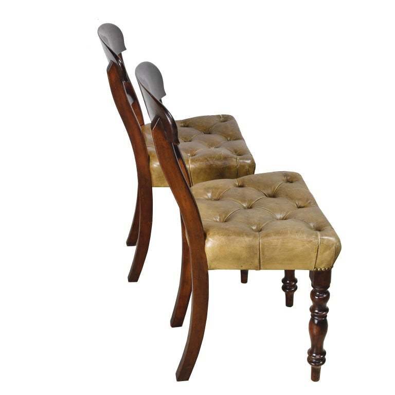 Pair of Early Victorian Mahogany Chairs with Leather Upholstery, England For Sale 5