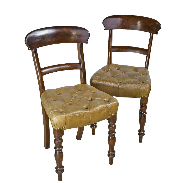 Pair of Early Victorian Mahogany Chairs with Leather Upholstery, England For Sale 7