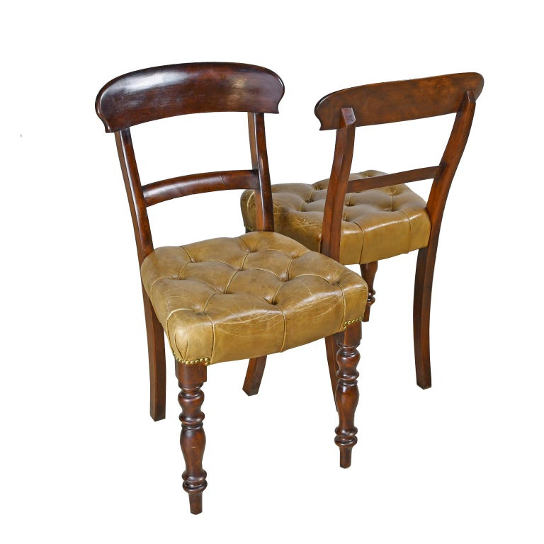 Pair of Early Victorian Mahogany Chairs with Leather Upholstery, England For Sale 8