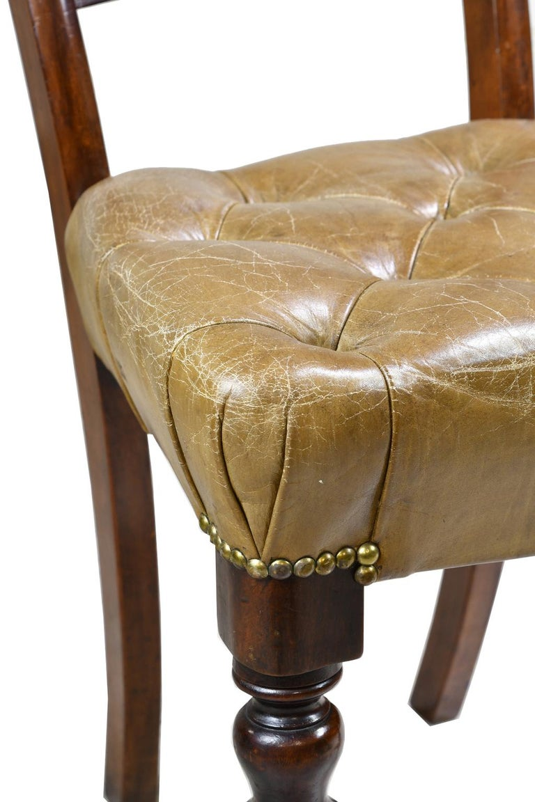 Hand-Carved Pair of Early Victorian Mahogany Chairs with Leather Upholstery, England For Sale