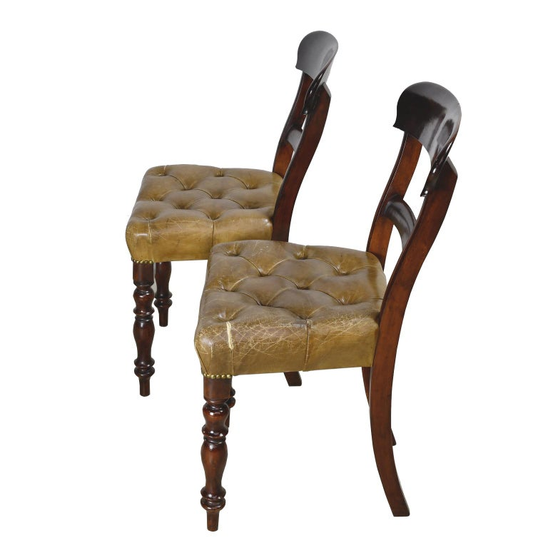 Pair of Early Victorian Mahogany Chairs with Leather Upholstery, England For Sale 1