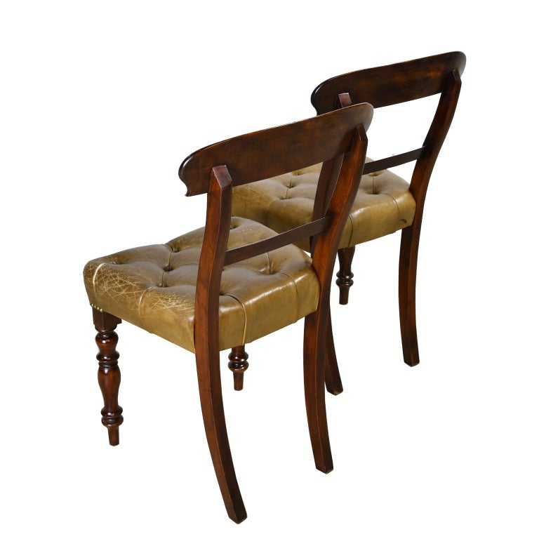 Pair of Early Victorian Mahogany Chairs with Leather Upholstery, England For Sale 2
