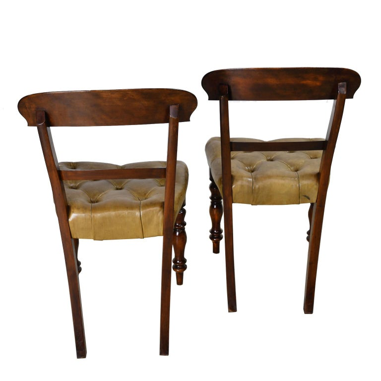 Pair of Early Victorian Mahogany Chairs with Leather Upholstery, England For Sale 3