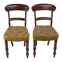 Pair of Early Victorian Mahogany Chairs with Leather Upholstery, England