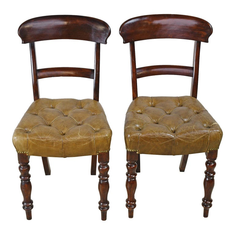 Pair of Early Victorian Mahogany Chairs with Leather Upholstery, England For Sale