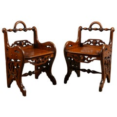 Pair of Early Victorian Mahogany Hall Chairs in the Manner of Richard Bridgens