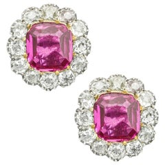 Pair of Early Victorian Ruby and Diamond Cluster Earrings