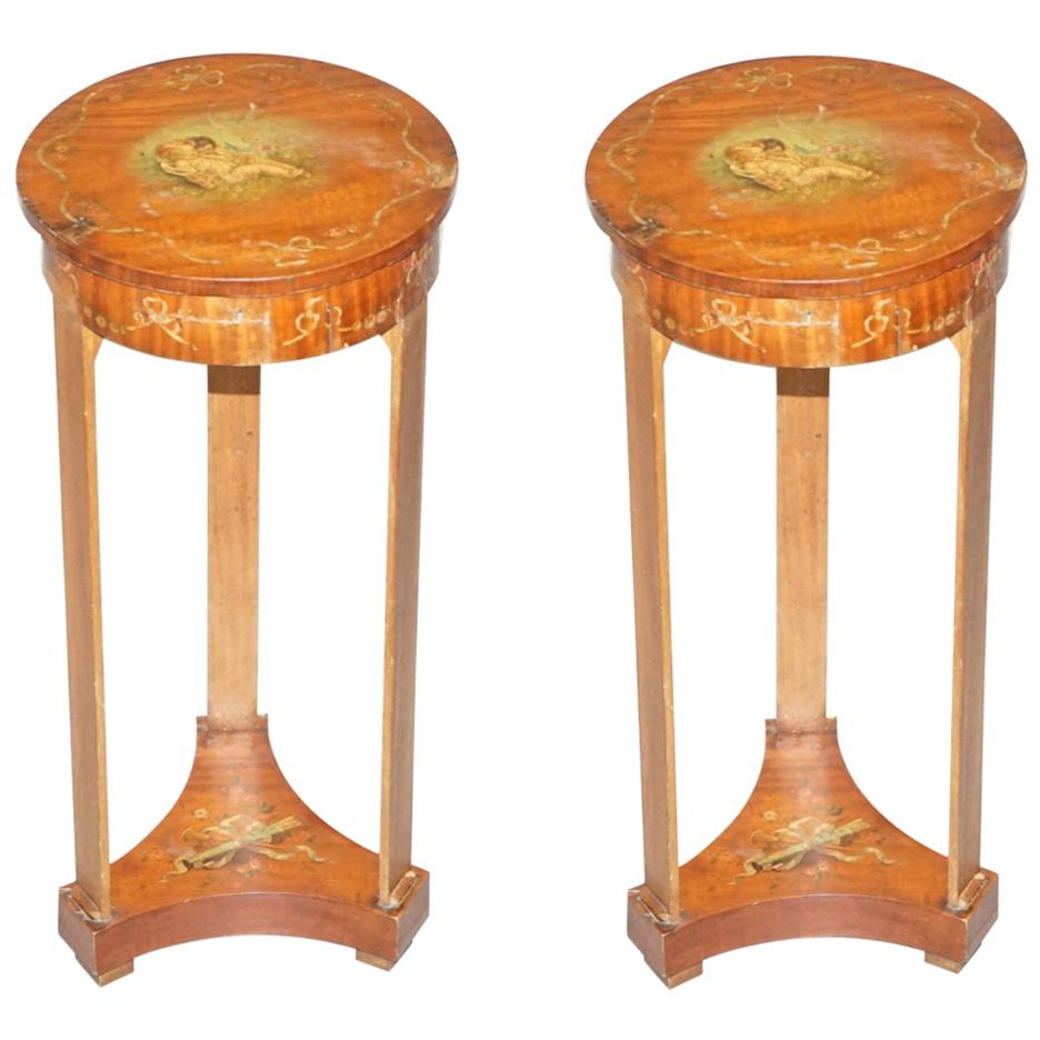 Pair of Early Victorian Sheraton Revival Side Tables with Internal Storage