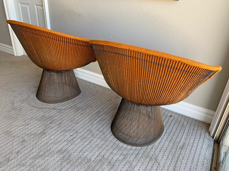Pair of Early Warren Platner Bronze Lounge Chairs, 1960s For Sale 3