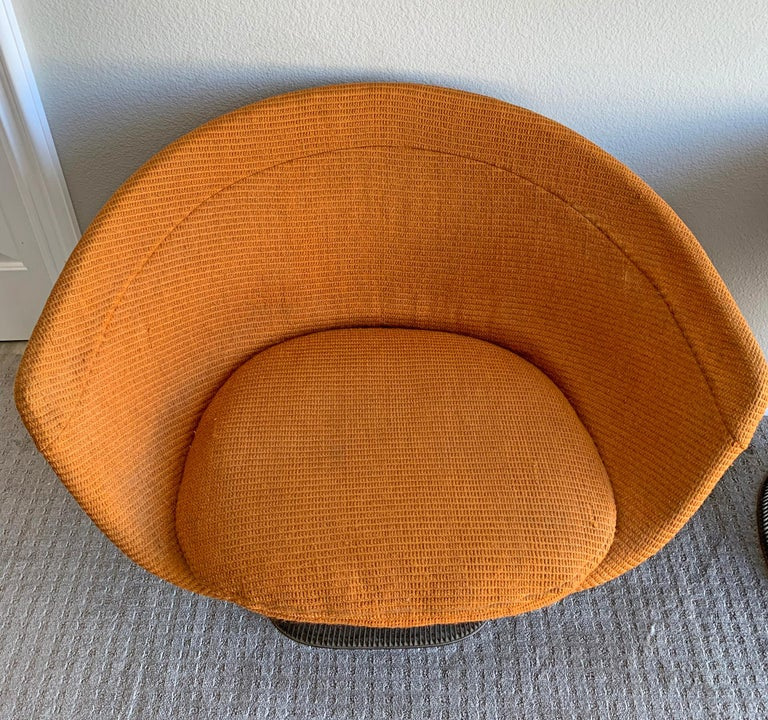 American Pair of Early Warren Platner Bronze Lounge Chairs, 1960s For Sale