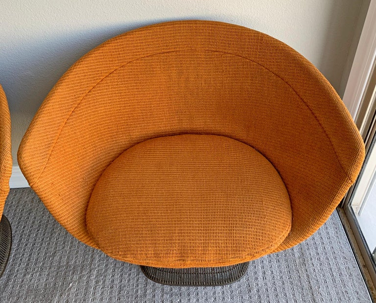 Plated Pair of Early Warren Platner Bronze Lounge Chairs, 1960s For Sale