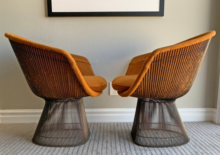 Pair of Early Warren Platner Bronze Lounge Chairs, 1960s In Good Condition For Sale In Tempe, AZ