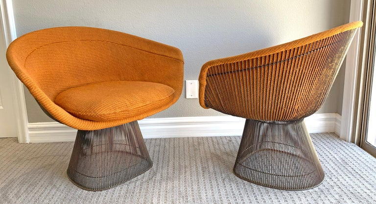 Mid-20th Century Pair of Early Warren Platner Bronze Lounge Chairs, 1960s For Sale