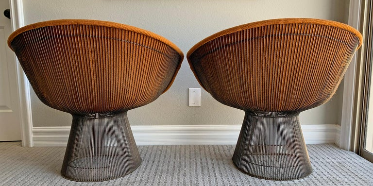 Pair of Early Warren Platner Bronze Lounge Chairs, 1960s For Sale 2