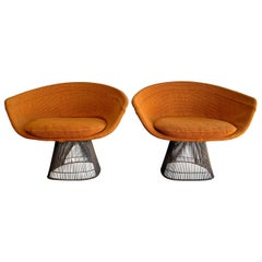 Pair of Early Warren Platner Bronze Lounge Chairs, 1960s