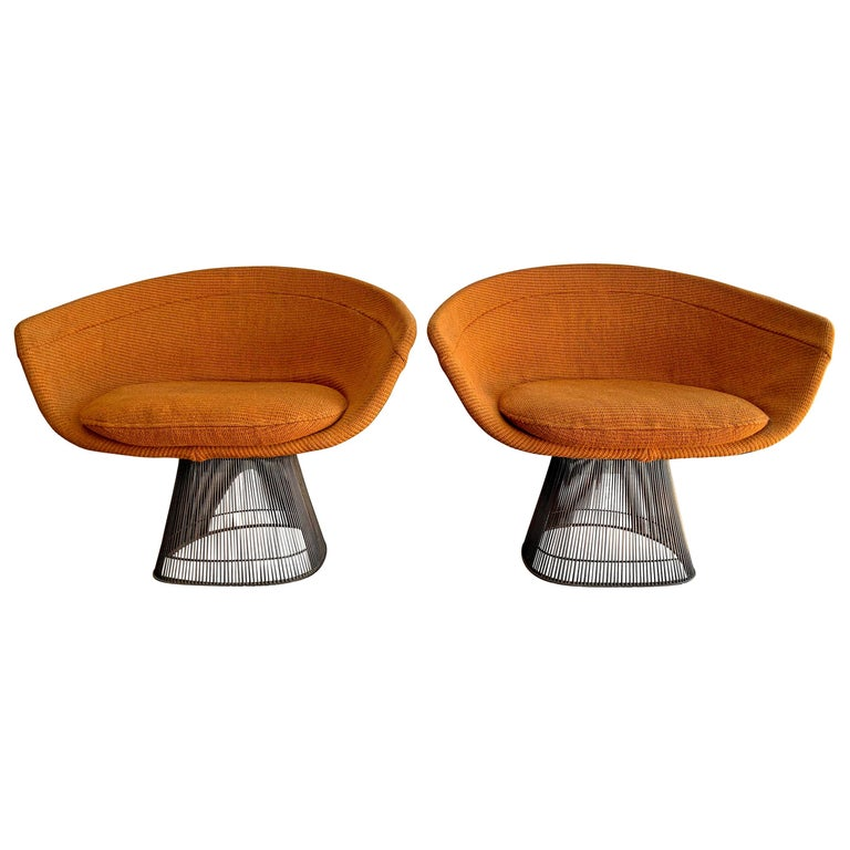 Pair of Early Warren Platner Bronze Lounge Chairs, 1960s For Sale