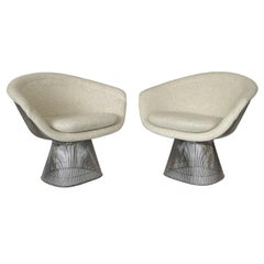 Pair of Early Warren Platner Wire Lounge Chairs for Knoll