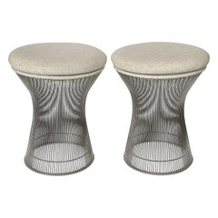 Pair of Early Warren Platner Wire Stools for Knoll