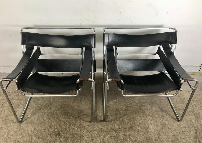 Marcel Breuer's 1925 design is a widely recognized masterpiece of modern furniture, having long ago achieved iconic status. This pair of Wassily chairs date to the 1960s.