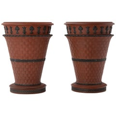 Pair of Early Wedgwood Rosso Antico Jardinières