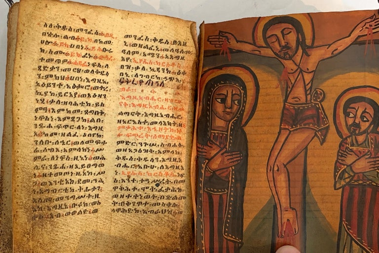 Pair of Early Wood Bound Hand Decorated Coptic Religious Books For Sale 3