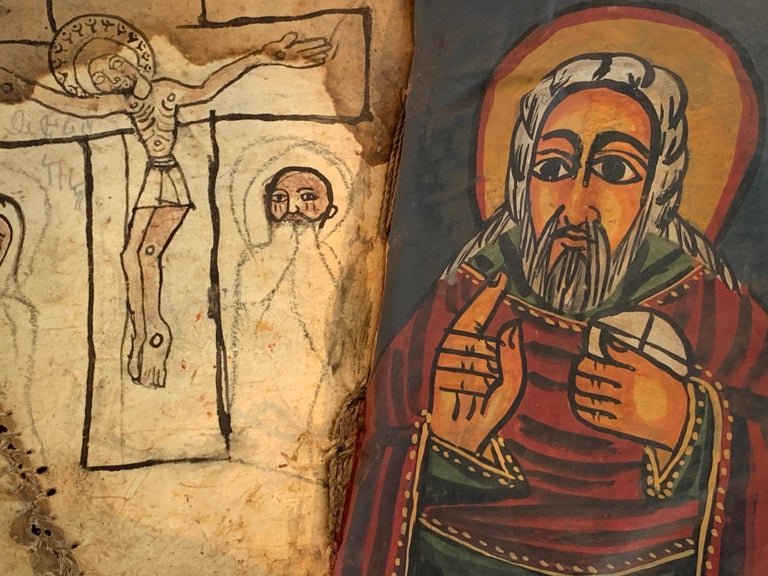 Ethiopian Pair of Early Wood Bound Hand Decorated Coptic Religious Books For Sale