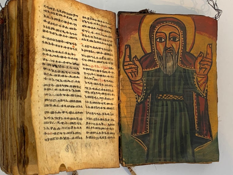 Paper Pair of Early Wood Bound Hand Decorated Coptic Religious Books For Sale