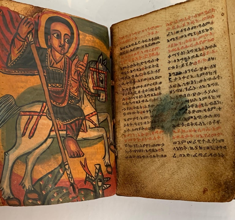 Pair of Early Wood Bound Hand Decorated Coptic Religious Books For Sale 2