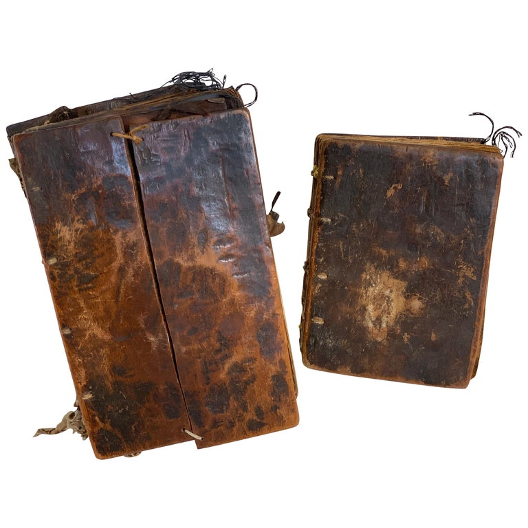Pair of Early Wood Bound Hand Decorated Coptic Religious Books For Sale