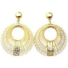 Pair of Earrings and Matching Pendant, Greek Key Design in 18 Karat Yellow Gold