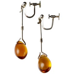 Pair of Earrings Designed by Torun Bülow-Hübe, Sweden, 1950s