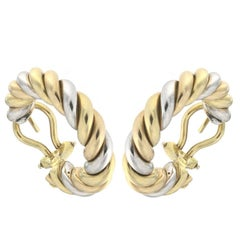"""Pair of Earrings from the Collection """"Rope"""" 18 Karat Yellow White and Rose Gold"""