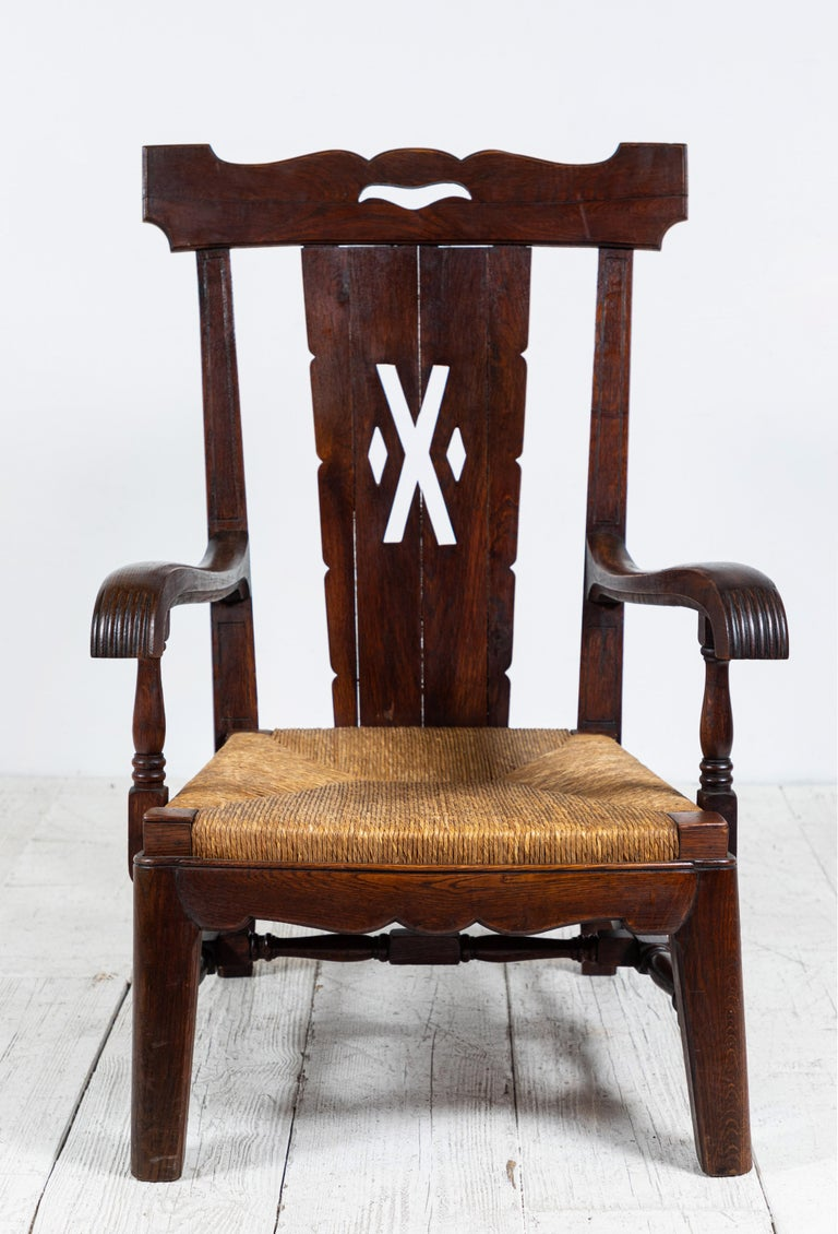 Pair of Eastern European Wood Framed with Rush Seat Arm ...