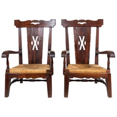 Pair of Eastern European Wood Framed with Rush Seat Arm Chairs