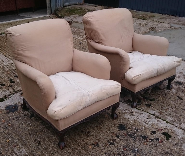Edwardian Pair of Easy Armchairs Made by Howard and Sons of London For Sale