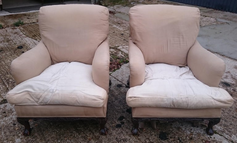 British Pair of Easy Armchairs Made by Howard and Sons of London For Sale