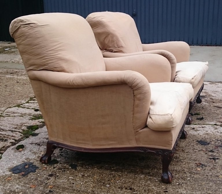 Walnut Pair of Easy Armchairs Made by Howard and Sons of London For Sale