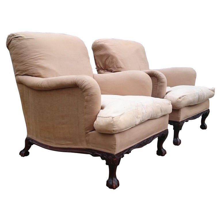 Pair of Easy Armchairs Made by Howard and Sons of London For Sale