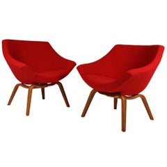 Pair of Easy Chairs by Carl-Gustaf Hiort Af Ornäs, Helsinki, 1950s