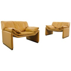 Pair of Easy Chairs by Etienne Aigner in Cognac Leather