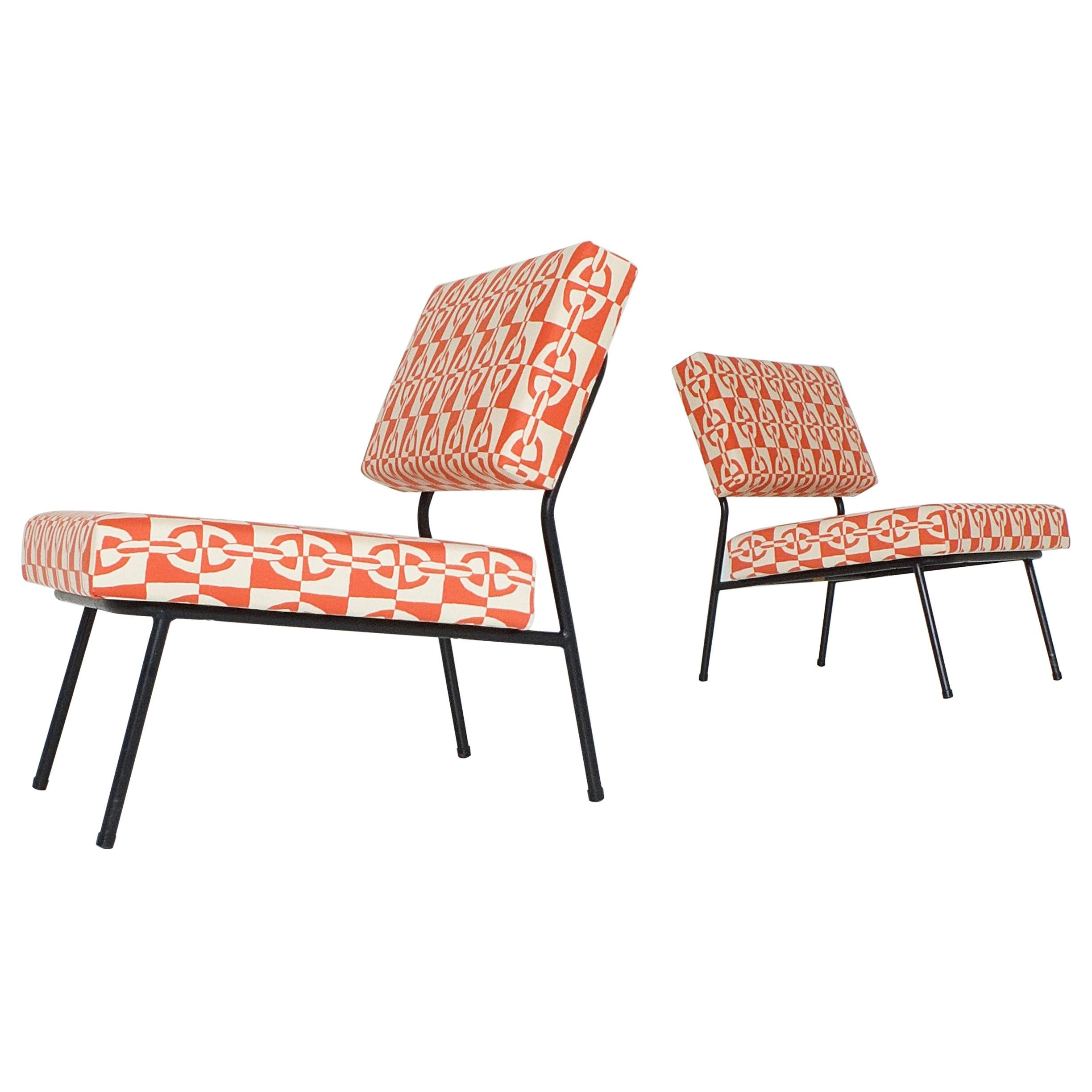 Pair of Easy Chairs by Paul Geoffroy for Airborne, with Hermès Fabrics, 1950s