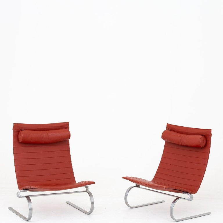 Leather Pair of Easy Chairs by Poul Kjærholm For Sale
