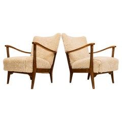 Pair of Easy Chairs DUX in Sheepskin, Sweden, 1950s