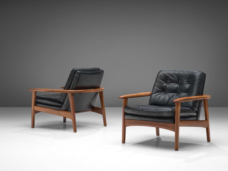 Danish Pair of Easy Chairs in Black Leather and Teak, Denmark, 1960s For Sale