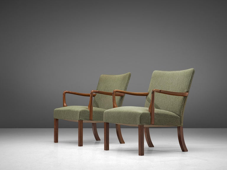 Scandinavian Modern Pair of Easy Chairs in Mahogany by Jacob Kjær For Sale