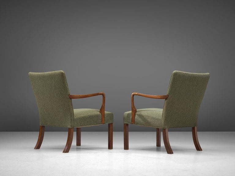 Danish Pair of Easy Chairs in Mahogany by Jacob Kjær For Sale